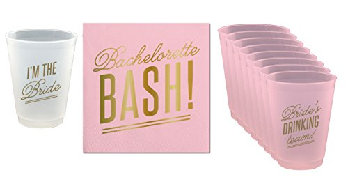 Bachelorette Bash 20 Ct Napkins and 8 Frost Flex Cups (I'm The Bride Cup & 7 Bride's Drinking Team! Cups) - 16 oz Cups and 5x5 Napkins