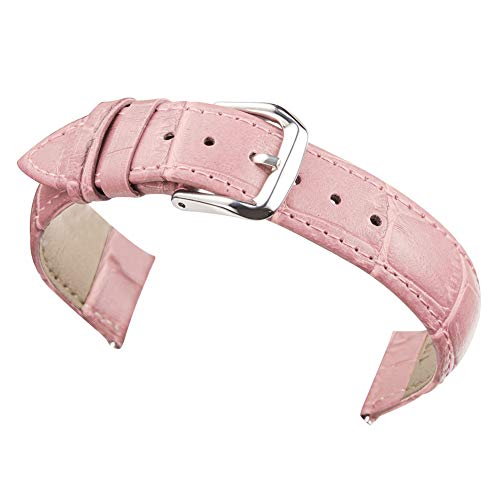 14mm Women's Pink Genuine Replacement Leather Watch Band Alligator Grain 7.08inch Length (Pink Genuine Alligator Strap)