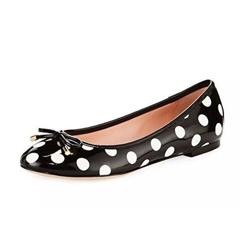 Leather Polka Dots Sandals - YDN Women Polka Dot Round Toe Ballets Slip-on Flat Heel Walking Shoes with Bowknot Black-White 9.5