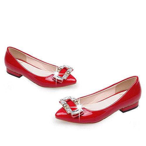 Lado puntiagudo hebilla de diamantes de imitación zapatos de novia/Zapatos de las mujeres embarazadas/bajo fondo plano zapatos B