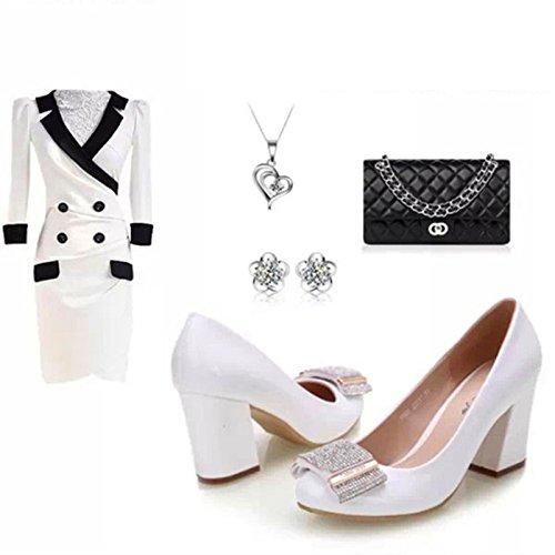 Womens Blanc Strass Bloc Mi-talon Chaussures Pompes Pour La Robe De Soirée De Travail De Fête Parti De Mariage White z9Pj9