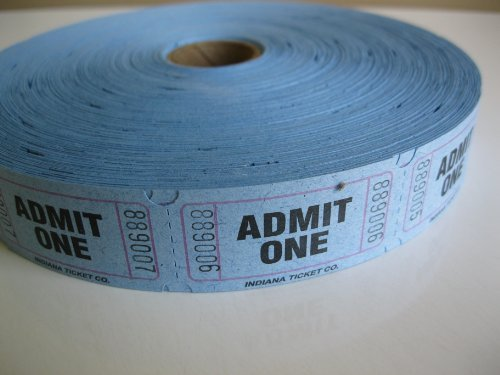 2000 Blue Admit One Single Roll Consecutively Numbered Raffle Tickets -