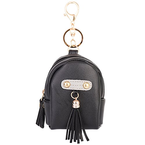 ZOONAI Women Leather Coin Purse Keychain Tassel Wallet Keyring Holder Purse (Keychain Coin Purse)
