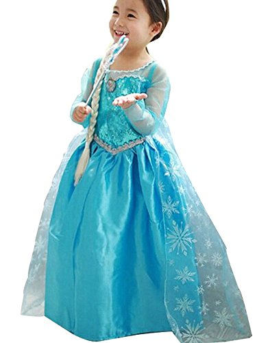 Girls Princess Elsa Chiffon Cosplay Costume Long Dress for Girls Kids