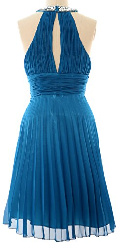 MACloth Women Halter Crystal Chiffon Short Evening Dress Cocktail Formal Gown Azul Marino Oscuro