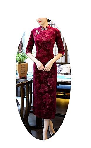 金属追記不実伝統的な中国のドレス女性秋冬ファッションヴィンテージスリムドレス,ボルドーロング,XL