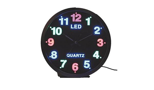 GAOHL Cuarzo de metal pared reloj mudo creatividad Digital luminoso salón 12 pulgadas , 1: Amazon.es: Hogar