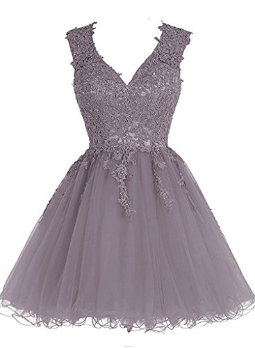 Women Lace Prom Dress Grey - 8