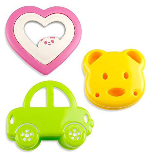 Kid Sandwich Mold | 3pcs Premium Bread Toast Pancakes Cookie Cutter with Cute Car Bear Heart Shaped Design | Green Yellow Pink | (Easy Do It Yourself Halloween Crafts)