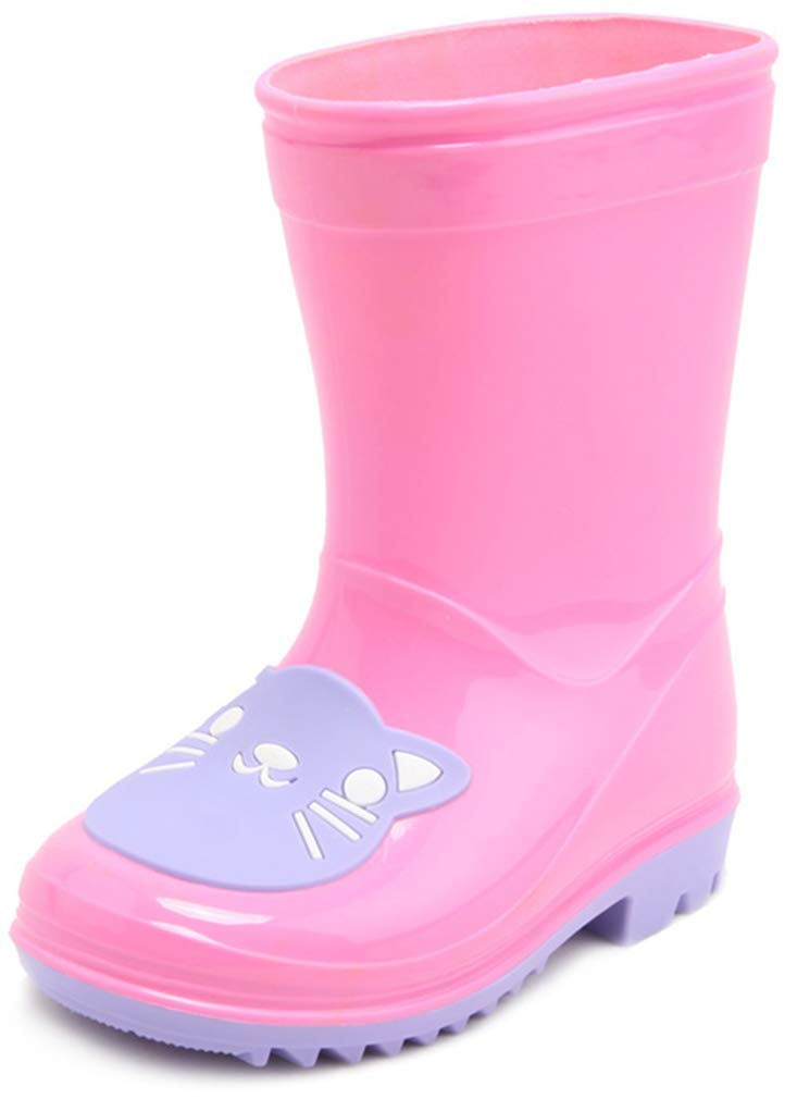 VECJUNIA Boy's Girl's Rain Boots Mid Calf Waterproof Cartoon Prints (Pink, 8.5 M US Toddler)