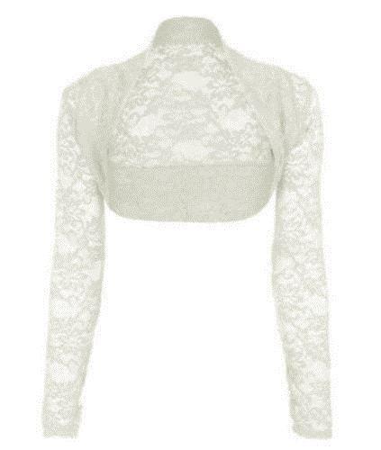 Bianca di Janisramone lunga cardigan spalle bolero pizzo manica ritagliata scrollata maglia rvqSC