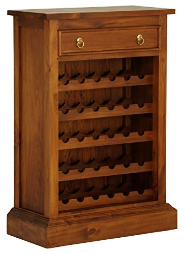 "NES Furniture Georgianna Wine Rack Fine Handcrafted Solid Mahogany Wood, 44"", Pecan"