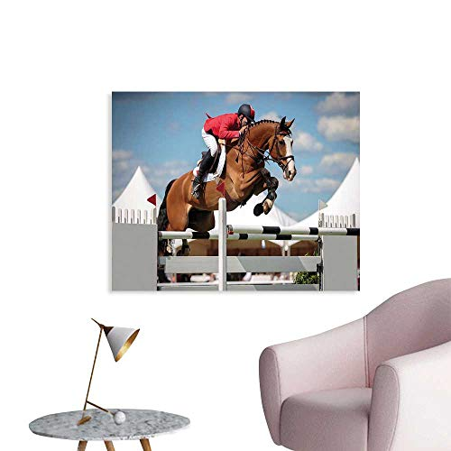 J Chief Sky Horse Decor Wallpaper Sticker Jumping Horse and Sportsman Race Competition Performance Success Winning Event Decor Mural for Home W28 xL20