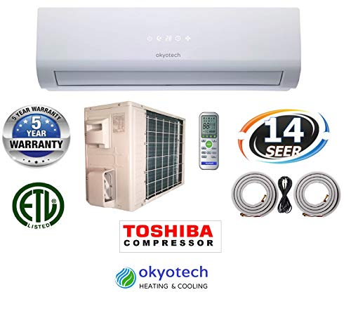 okyotech 24,000 BTU 2 TON 14 SEER Ductless Mini Split Air Conditioner Cool Heat with Heat Pump with Full Installation Set