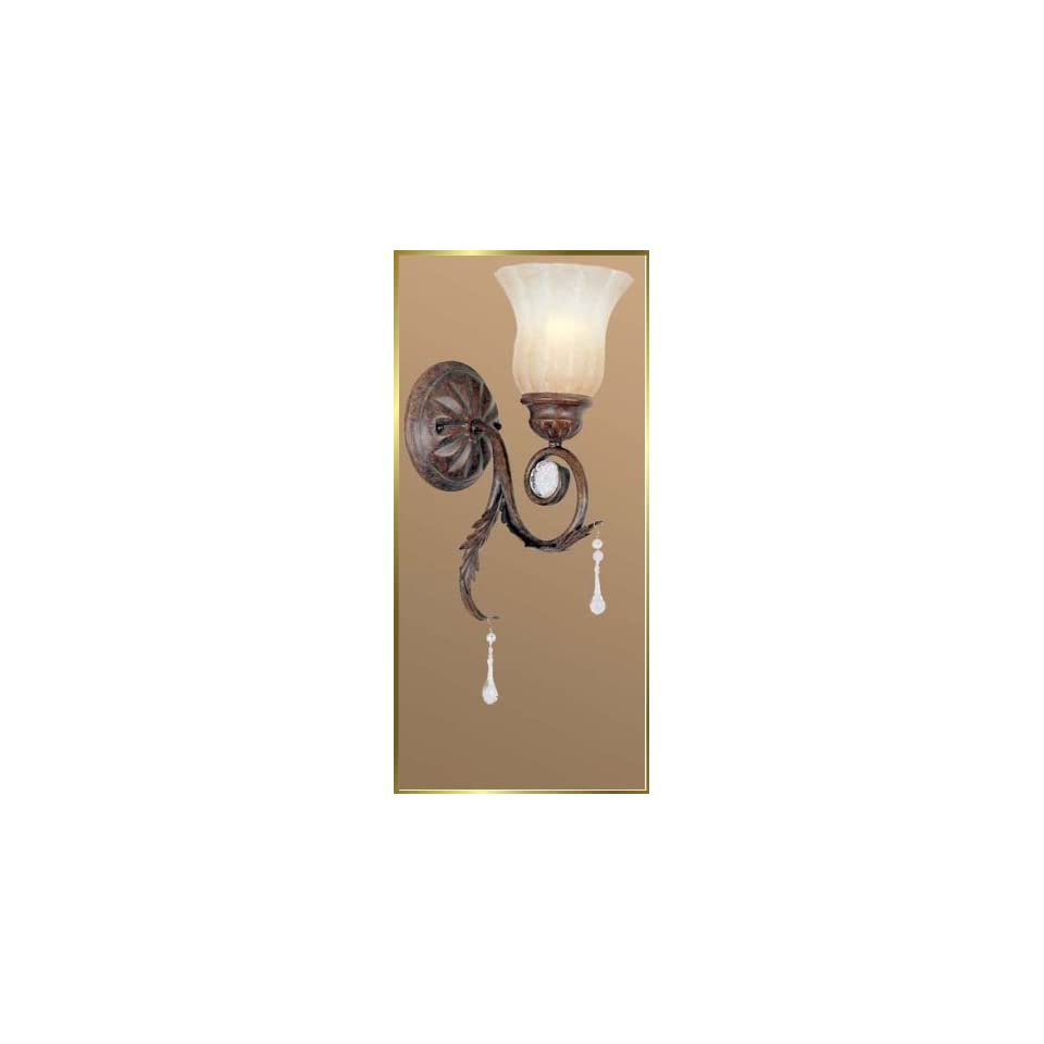Wrought Iron Wall Sconce, JB 7060, 1 light, Weathered Bronze, 6 wide X 14 high