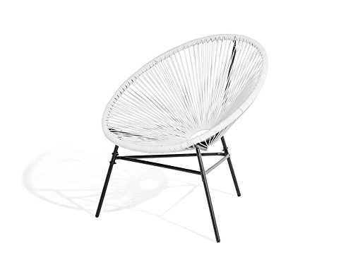 Beliani Modern Accent Chair Round White Rattan Steel Living Room Acapulco