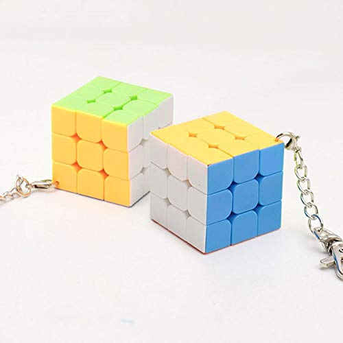 Sarah Store Magic Cubes - Mini Keychain Magic Cube Trihedron Cylinder Speed Cube Puzzle Neo Cubo Magico Learning Educational Toys for Children Boys ()