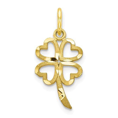 10k Yellow Gold Shamrock Pendant Charm Necklace Good Luck Italian Horn Fine Jewelry For Women Gift Set