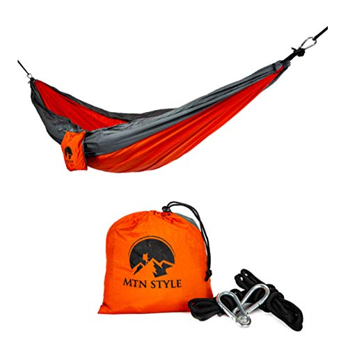 MTN STYLE Camping Hammock Portable Lightweight Single Parachute Hammock w/ 2X's Tree Straps up to 400 lbs Nylon Rope Hammock Swing for Hiking, Travel, Backpacking, Beach, or Yard -