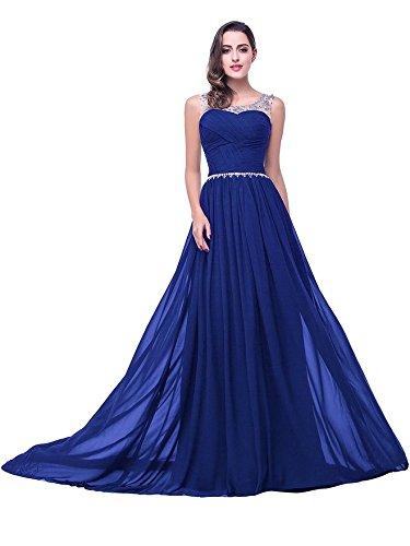 Ballkleid Pailletten Lang Chiffon Partykleider Cocktailkleider Brautjunfernkleider Blau Mit Babyonline® Abendkleider Damen F4YqOO