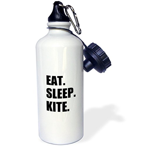 3dRose wb_180416_1 Eat Sleep Kite - Kitesurfing Kiteboarding Kite surfer Kite boarder Surf Sports Water Bottle, 21Oz, Multicolored