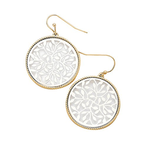 - Round High Polish Silver-Tone in Gold-Tone Open Work Filigree Leaf Dangle Drop Earrings 1 1/2