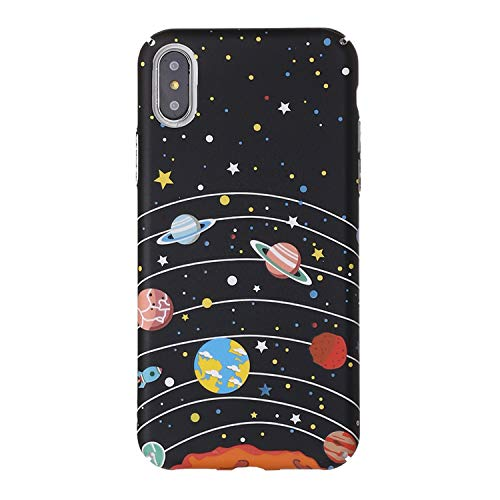 Geometric Graphic Airship Astronaut Stars Moon Pattern Case for iPhone 6 6S 7 7Plus 8 8Plus X 3D Luminous Hard PC Phone Case,2,for iPhone 6Plus