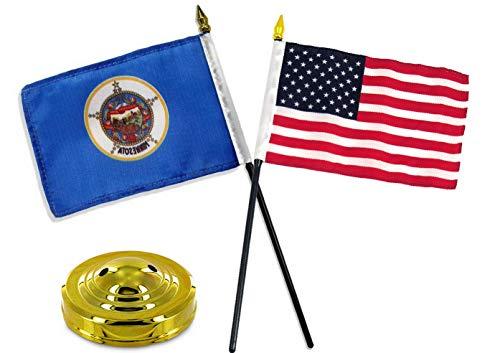 Mikash Minnesota State w/USA America American Flag 4x6 Desk Set Table Gold Base | Model FLG - 3360