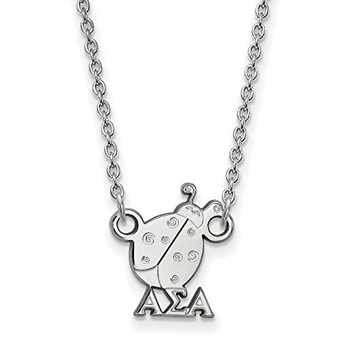 925 Sterling Silver Officially Licensed Alpha Sigma Alpha Extra Small Pendant with 18'' Cable Chain Necklace (18 in x 1.25 mm) by Mia Diamonds and Co.