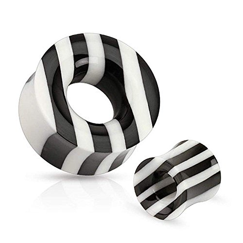 Covet Jewelry Black and White Striped Organic Horn and Bone Saddle Fit Tunnel (7/8