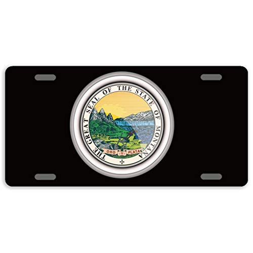 Montana State Seal - Eprocase License Plate Cover Automotive License Plate Novelty Car Tag Metal Decorative Tags Auto Sign Front License Plates 4 Holes 12 x 6 Inches, The Great Seal of The State of Montana