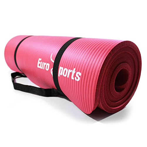 EUROSPORTS 1/2-Inch Extra Thick 72-Inch Long NBR Eco Friendly Non Slip Foam Yoga Mat with a Carrying Strap for Yoga, Pilates and Exercise