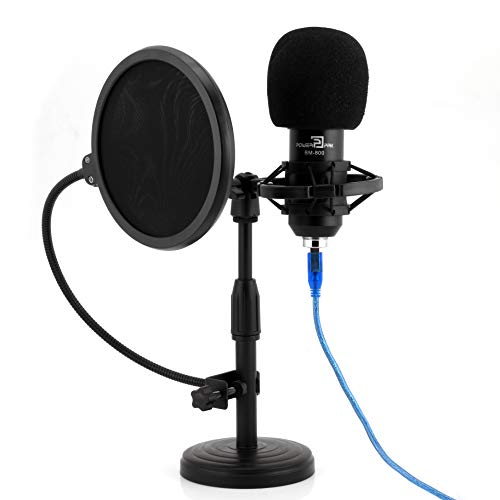 Powerpak BM-800 Black Condenser Microphone with Mini Pole Stand Pop Filter Shock Mount Foam Cap USB Cable | No Driver Just Plug and Play