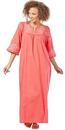 La Cera 100% Cotton Kaftan Dress in Coral Delight at