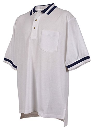 - Tri-mountain 60/40 pique pocketed golf shirt with trim. - WHITE / NAVY - XLT