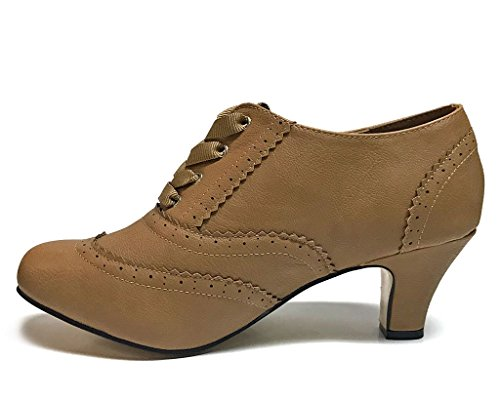 T.U.K. Rewind Women's Tan Brogue Vintage Pumps, US Women's 11 B(M)