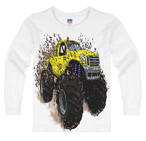 Shirts That Go Little Boys' Long Sleeve Big Yellow Monster Truck T-Shirt 6 White (Best Monster Truck Venues)
