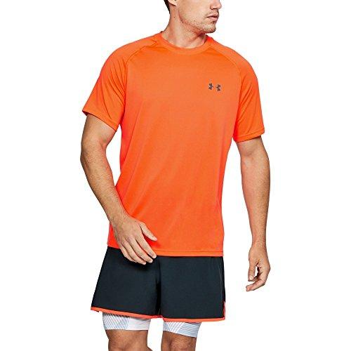 Under Armour Men's Tech Short Sleeve T-Shirt, Magma Orange/Rhino Gray, - Men Orange For