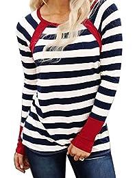 Womens Long Sleeve Striped T Shirt Casual Crew Neck Loose Blouses Raglan Tees