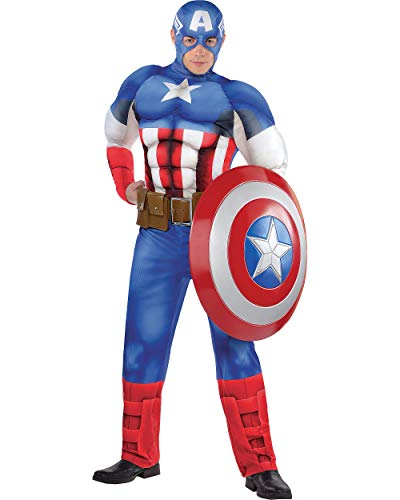 SUIT YOURSELF Classic Captain America Halloween Muscle Costume for Men, Standard, Includes Accessories -