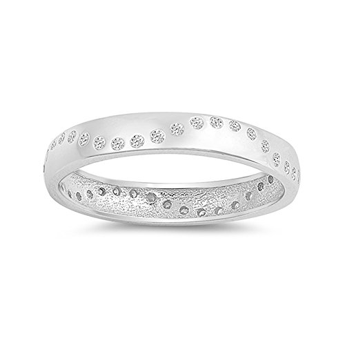.925 Sterling Silver Cubic Zirconia Accent Wedding Band ()