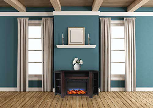 Cambridge CAM5630-1MAHLED Stratford 56 In. Electric Corner Fireplace in Mahogany with LED Multi-Color Display