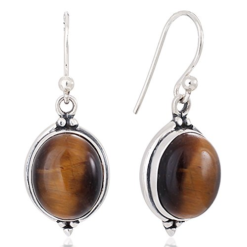 925 Oxidized Sterling Silver Brown Tigers Eye Gemstone Oval Vintage Dangle Hook Earrings 1.3