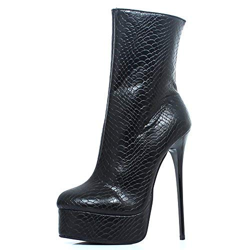 JiaLuoWei Women High Heels Boots, Mid-Calf Boots Unisex Sexy Fetish Shoes Plus Size 16cm High Heel (14, Black Serpentine Print)
