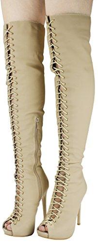 Vrouwen Lace-up Gluren Teen Dij Hoog Over De Knie Gladiator Platform Stiletto Hoge Hak Laarzen Naakt