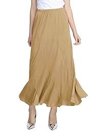 Urban CoCo Women's Vintage Elastic Waist A-Line Long Skirt