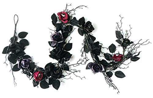 Halloween Garland With Lights (CraftMore Halloween Black Leaf and Rose Garland with)
