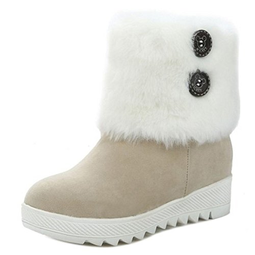 Slip Heel Beige Women Low on COOLCEPT Hidden Boots RnSqxE