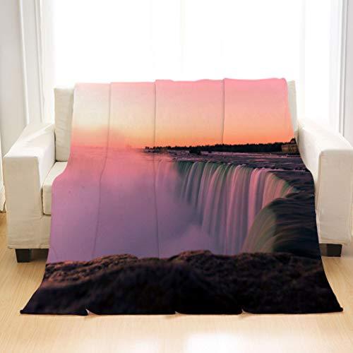 BEIVIVI Super Soft Warm Cozy Blanket Long Exposure Niagara Falls Canada Blanket for Home Travel Camping Hiking