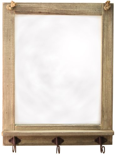 Carousel Home Large Shabby Chic Wooden Driftwood Mirror Hooks 48cm x 37cm XJ0130